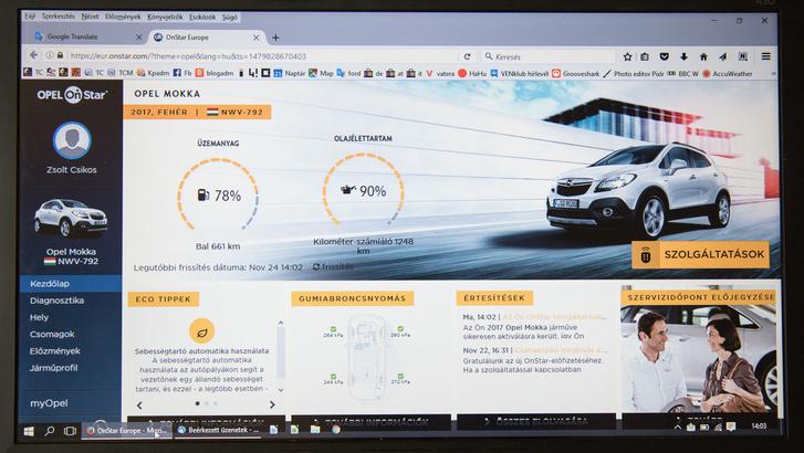 Ez még a számítógép kijelzőjén az OnStar, de ugyanezt láthatja az ember a mobilján is