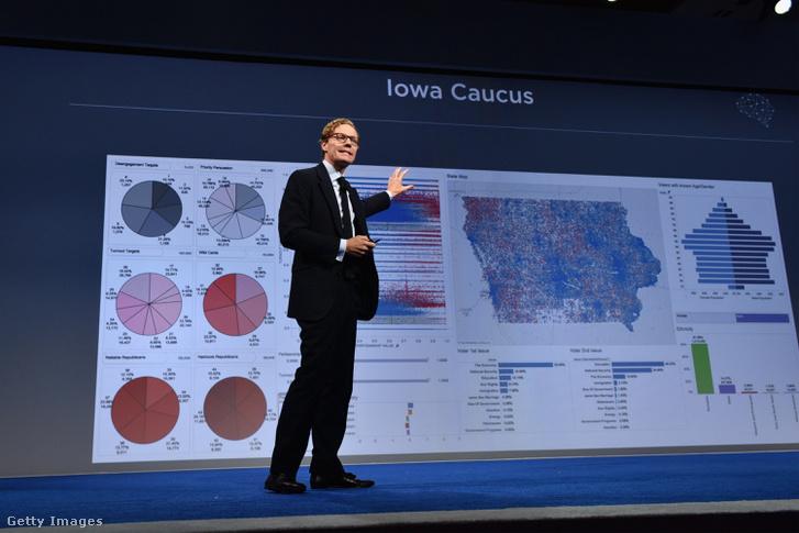 A Cambridge Analytica vezérigazgatója, Alexander Nix beszél egy New York-i konferencián, 2016. szeptember 19-én.