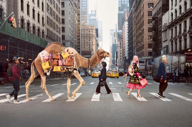 Kate Spade szerencsére nem stúdió felvételekben gondolkodott. Modelljük egy tevét sétáltat Manhattanben a kampányfotókon.