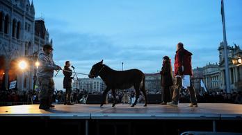 Balog Zoltánt egy szamárra cserélték a Kossuth téren