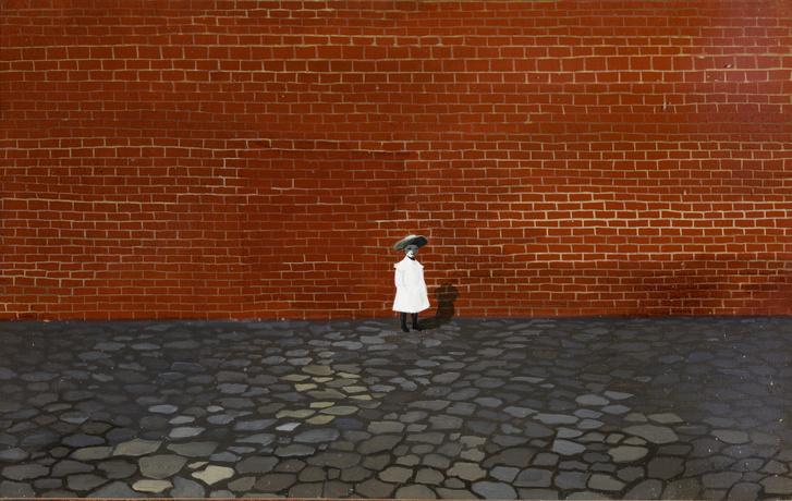 Orszag Lili: Kislány fal előtt