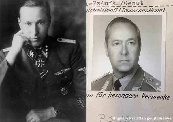 Joachim Boosfeld, a 8. SS-lovashadosztály századosa (Hauptsturmführer) 1945 február 21-én a Lovagkereszt adományozása után és 1957-ben mint a Bundeswehr vezérkari ezredese