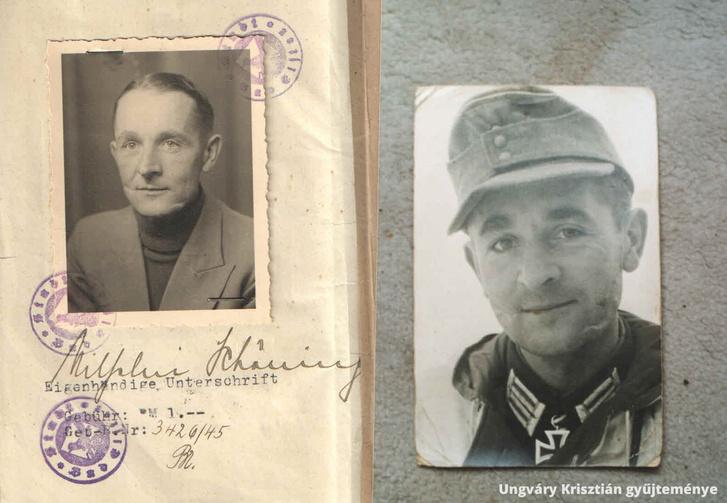 Wilhelm Schöning 1944 február elején Narvánál a frissen adományozott Lovagkereszttel (ideiglenes megoldásként egy II. osztályú Vaskeresztet akasztott a nyakába) és 1945 végén már civilként. Az arcán jól látszanak az ostrom és kitörés okozta súlyos megpróbáltatások.