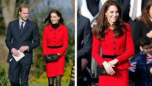Katalin két gyerek és 6 év távlatából is így néz ki a piros kosztümjében