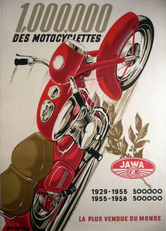 A plakát az egymilliomodik Jawa tiszteletére készült