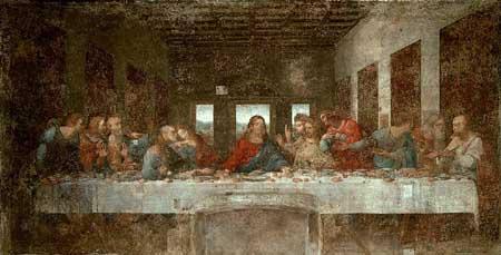 Leonardo híres képe az utolsó vacsoráról.
