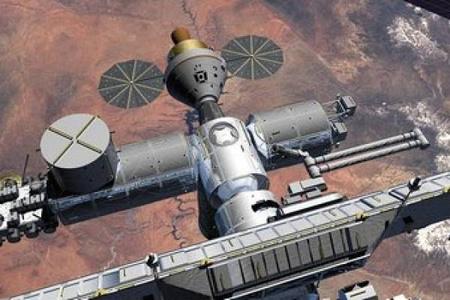 A NASA grafikusának fantáziaképe az ISS-re bedokkolt Orionról.