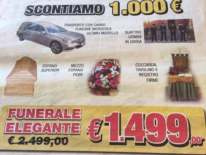 Temetkezési outlet hirdetése olasz reklámújságban