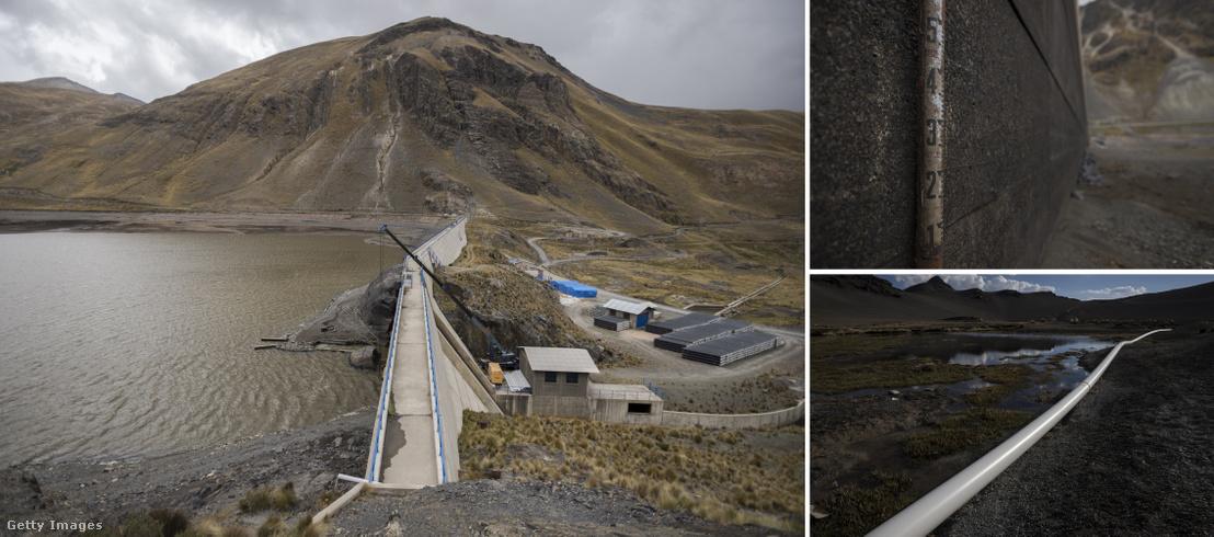 Az Incachaca víztározó La Paz mellett. Jobbra fenn: a vízszintet jelző rúd egy kiszáradt szakaszonom. Jobbra lenn: vizet szállító csővezeték a főváros mellett.