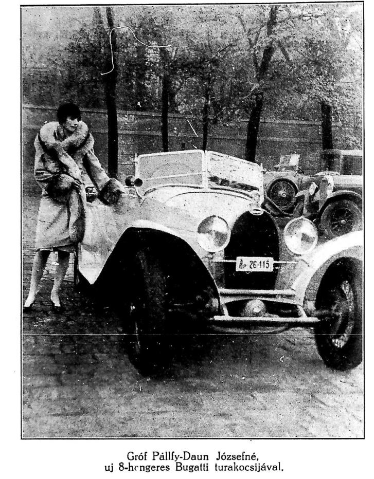 Gróf Pálffy-Daun Józsefné és az ő Bugattija