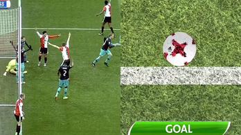 Milliméterek miatt átkozhatja a PSV a gólvonal-technológiát