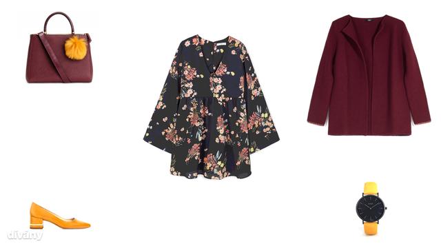 Táska - 9490 Ft (H&M), ruha - 13995 Ft (Mango), kabát - 14995 Ft (Parfois), cipő - 6995 Ft (Zara), óra - 79 euró (Asos)