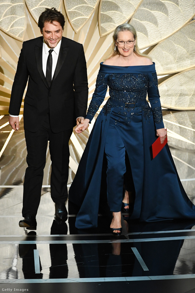 Meryl Streep végül sötétkék Elie Saab couture együttesben jelent meg a gálán a Chanel ruha helyett.