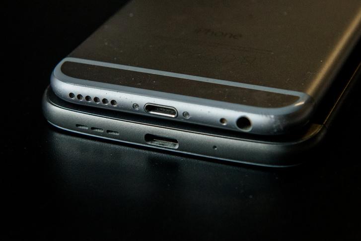 USB-c csatlakozó egy LG telefonon és Lightning egy iPhone 6-oson