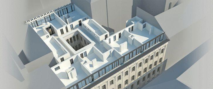 Az emeletráépítések látványterve a Magyar utca felől nézve
