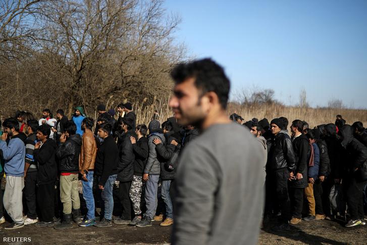 Ételosztásnál várakozó menekültek a szerb-magyar határ közelében