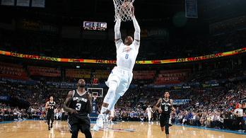 Westbrook észbontó: beérte az NBA egyik legnagyobbját