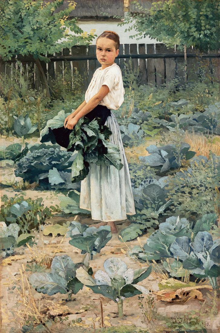 VASZARY János (1867-1939): Leányka a veteményeskertben (1893) olaj, vászon 85,5 x 56,5 cm