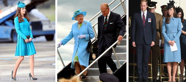 Katalin 2014. áprilisában Új-Zélandon, Erzsébet királyné 2010. júniusában a kanadai turnéján, majd ismét Katalin 2014. júniusából. Kéket viselnek, ez tény.