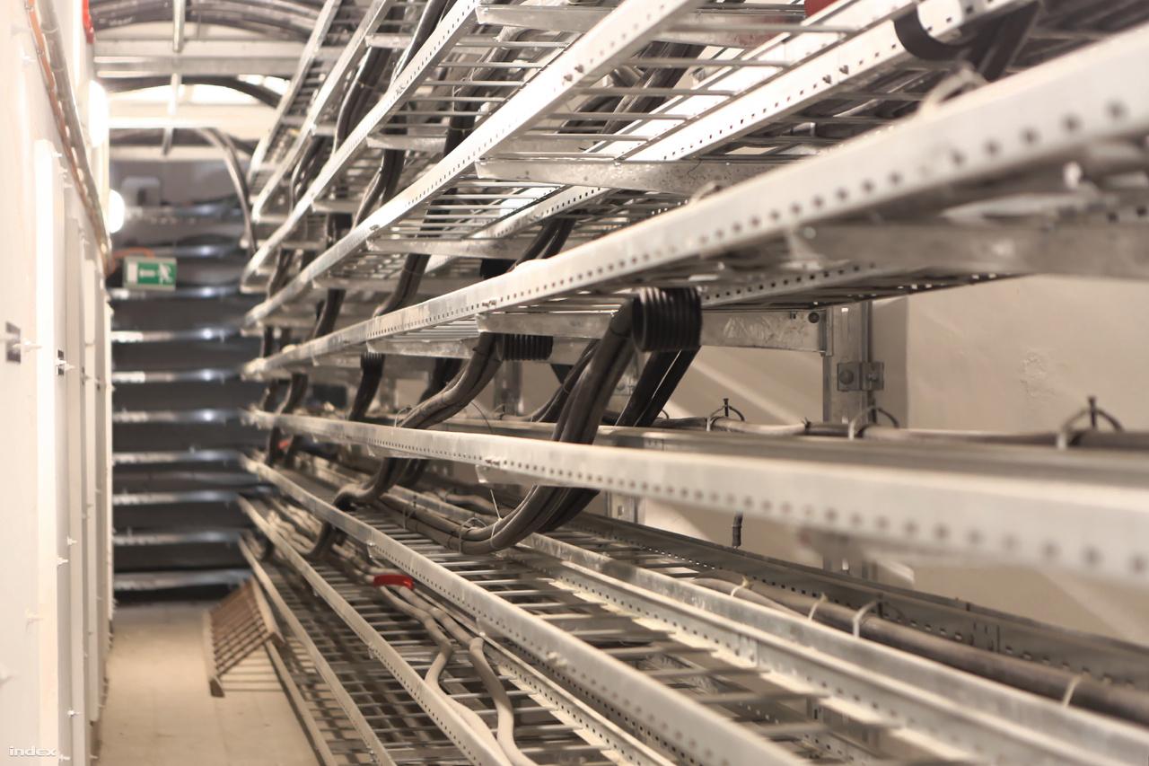 A legalsó szinten kígyóznak a fogyasztókhoz elinduló kábelkötegek.