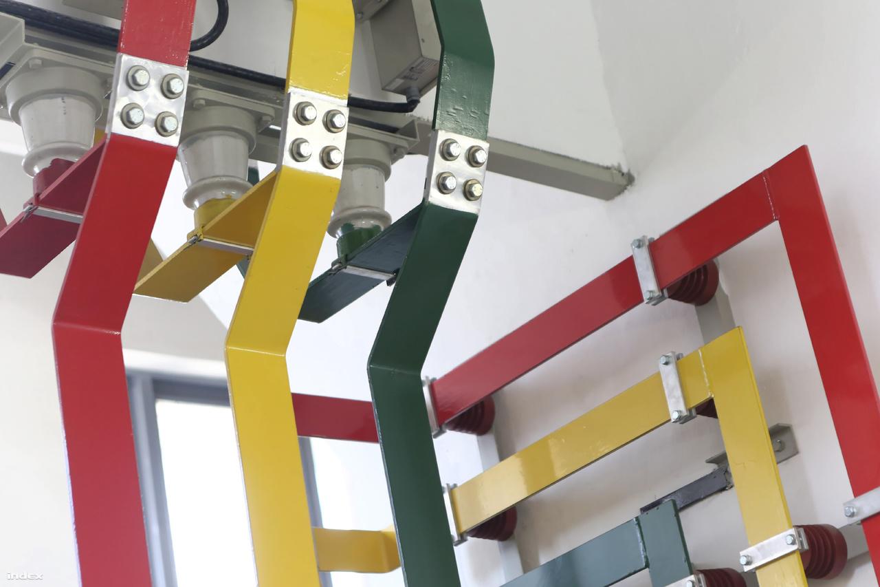 Az úgynevezett gyűjtősín térben piros sárga és zöld színkódok különböztetik meg az összetartozó fázisokat, elkerülendő a helytelen (és ezért veszélyes) bekötést.