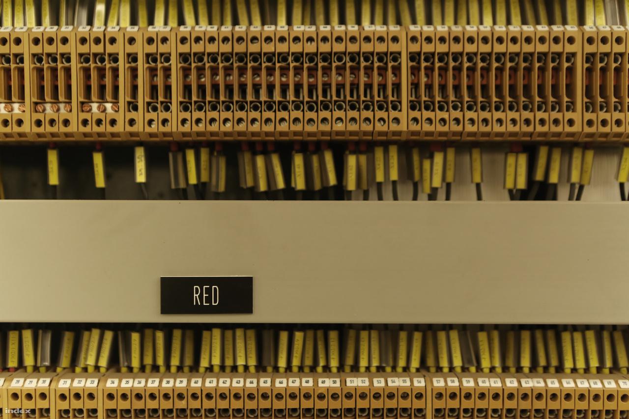 Az irányítóterem műszerfala mögötti folyosón ezrével sorjáznak a különféle elektromos csatlakozók.