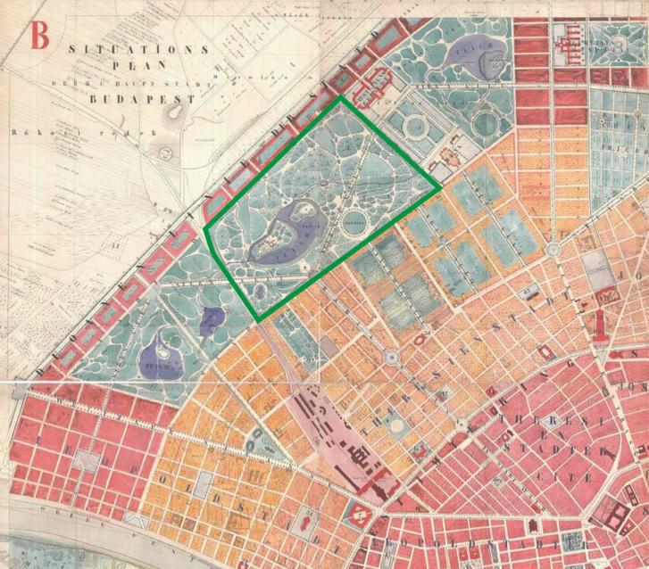 Budapest általános beosztási és rendezési tervének részlete 1872-ből