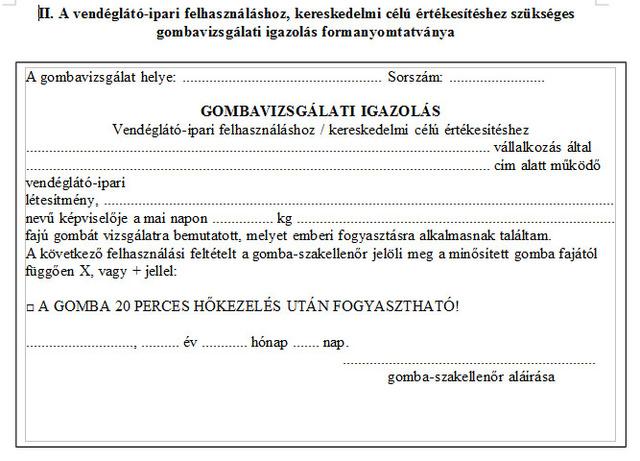 A szakellenőri igazoláson található információk