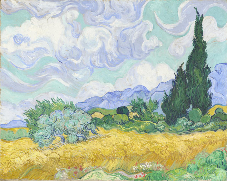 Kukoricaföld ciprusokkal (Cornfield with Cypresses, 1889)