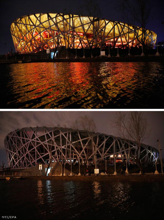 A Madárfészeknek nevezett pekingi Nemzeti Stadion a Föld órája nevű akció idején 2017. március 25-én