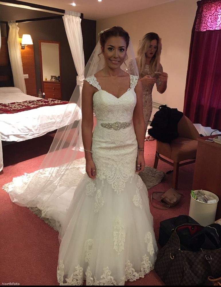 Na és most pár fotó a nagy napról! Danielle French itt az esküvő előtt készülődik.