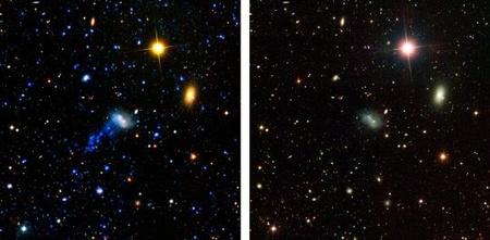 Az IC 3418 katalógusjelű galaxis a NASA GALEX mesterséges holdjának ultraibolya felvételén (bal oldal). A csóva csak az ultraibolya tartományban detektálható, a jobb oldali, látható tartományban készült felvételen nincs nyoma. [NASA/JPL-Caltech]