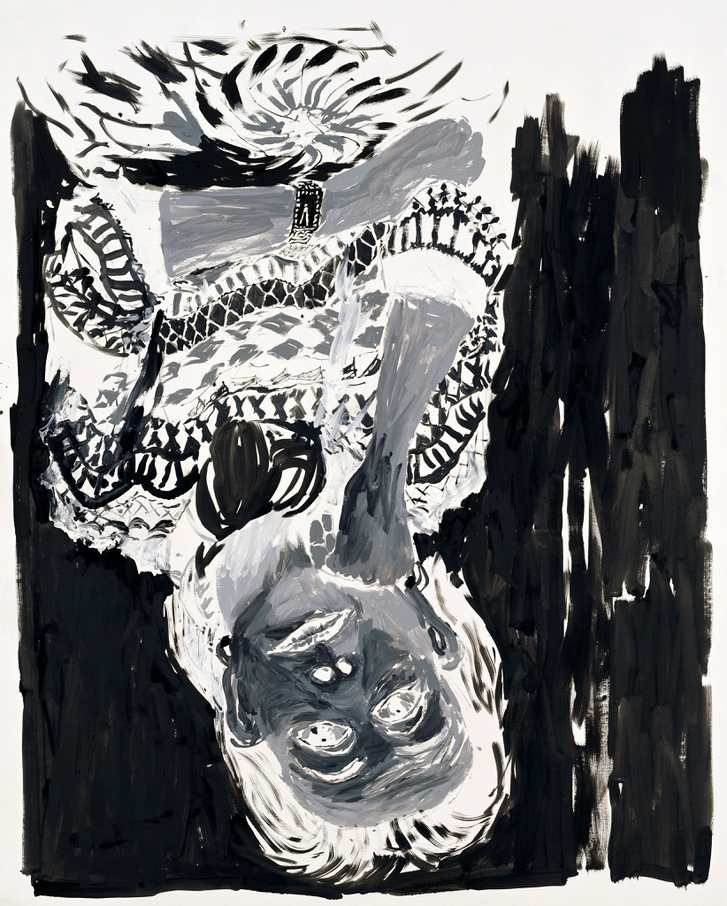 Fekete-fehér negatív, 2004                         Olaj, vászon                         250 x 200 cm                         Magántulajdon                         Fotó: Jochen Littkemann, Berlin © Georg Baselitz