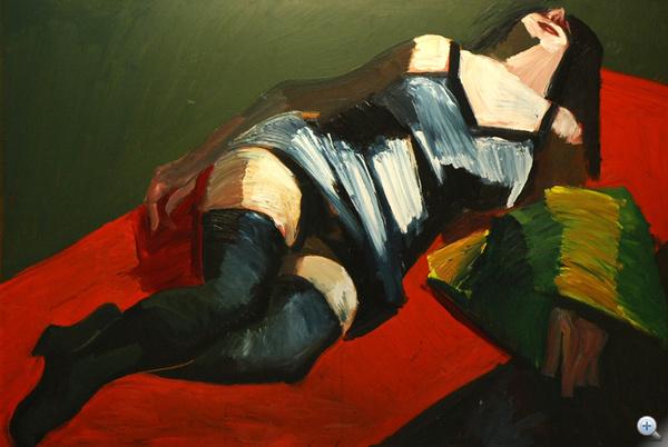 """Fekvő nő - """"alsóneművel rejtőztetett akt"""""""