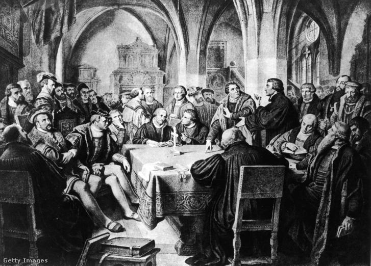 Luther Márton és a reformáció más alakjai az 1529-ben Marburgban rendezett nyilvános hitvitán