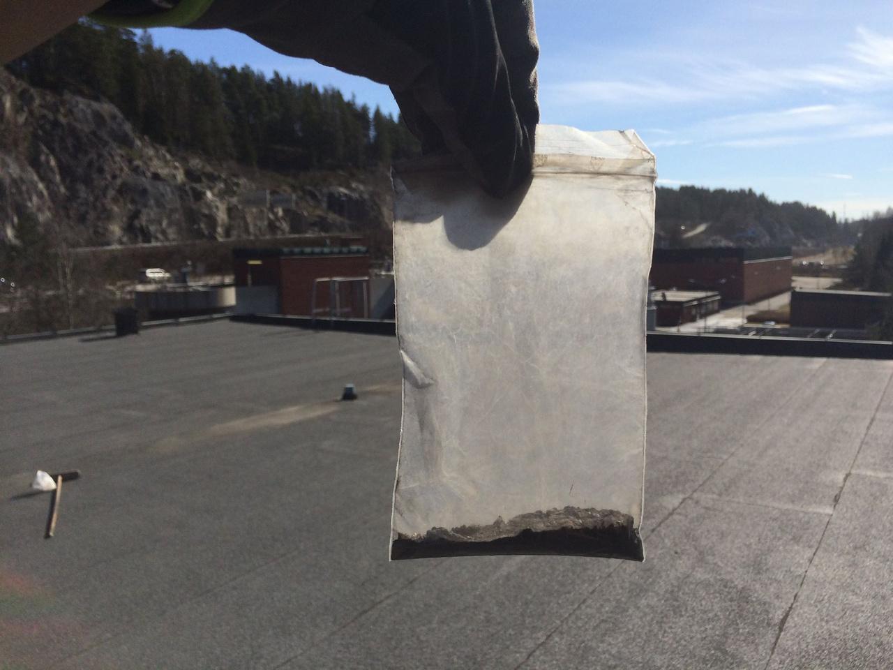 Vinterbro, Norvégia: így néz ki egy tetősöprés első eredménye, a zacskóban valószínűleg rejtőzött néhány űrbéli jövevény.