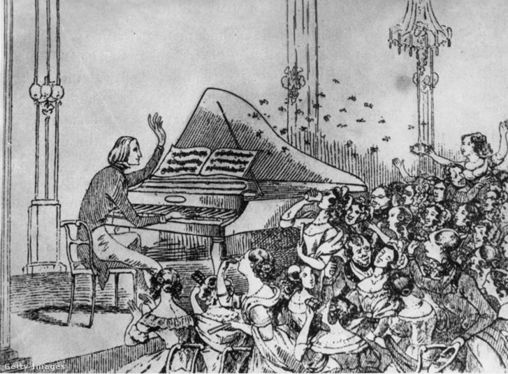 Berlin, 1842: virágokat és csókokat dobálnak a nők liszt koncertjén