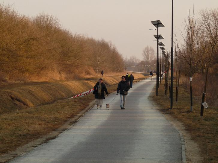 A Szilas-patak kerékpárút már elkészült szakasza egy februári hétvégén