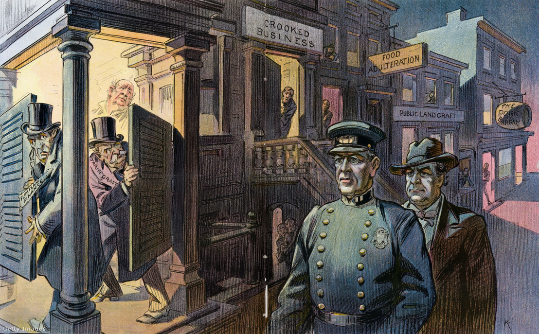 Egy korabeli karikatúra, amin Wilson elnök és William Jennings Bryan kétes üzletek között járőröznek.