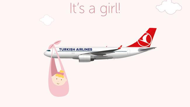 Baba született a Turkish egy járatának fedélzetén