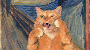 Híres festmények, dagadt macskával feljavítva