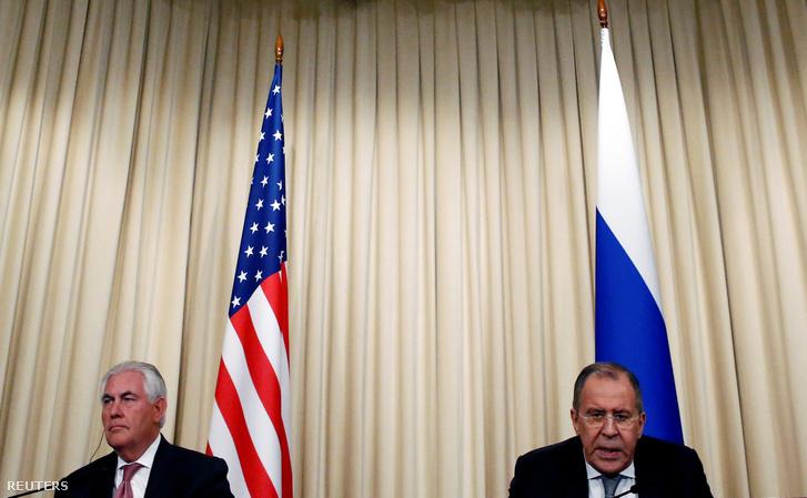 Rex Tillerson és Szergej Lavrov sajtótájékoztatója Moszkvában, 2017. április 12-én.