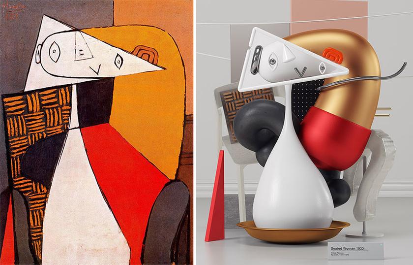 Pablo Picasso Ülő nő (Seated woman) című alkotása, és Omar Aqil 3 dimenziós variációja a témára.