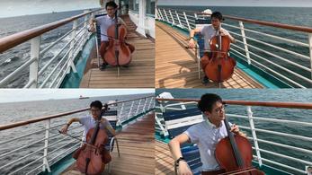 Ez a csellista kihajózott a tengerre, hogy eljátssza Debussytől A tengert