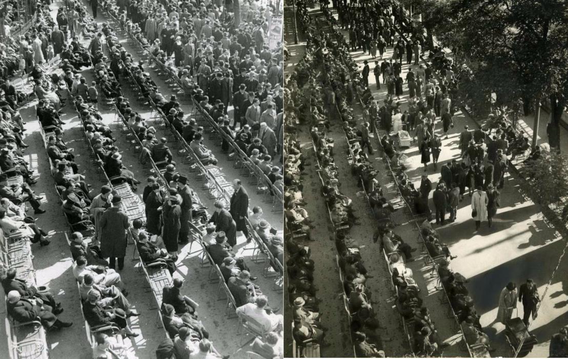 Korzózás a Duna-parton a 30-as és a 40-es években. Sétáló tömeg és az őket (meg a panorámát) bámulók a Buchwald-székeken