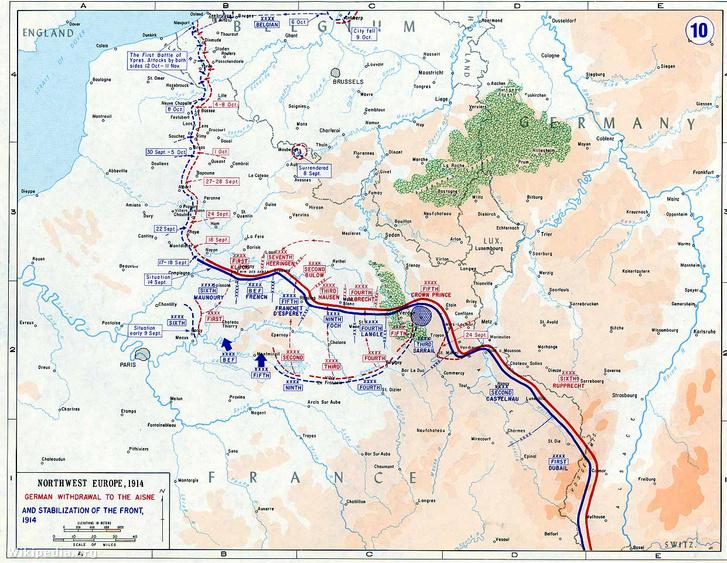 A nyugati fronton 1914 novemberére kialakult állóháború térképe: a lövészárkok rendszere északon a La Manche csatornától délen a svájci határig húzódot