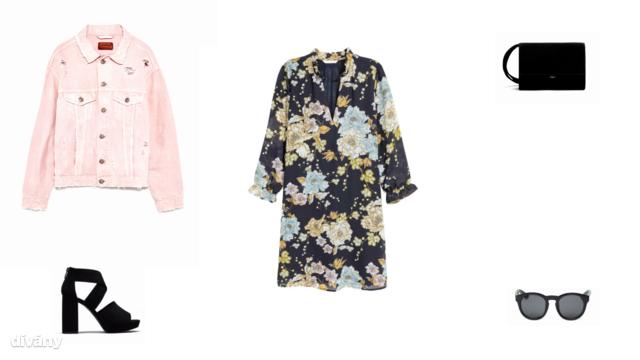 Dzseki - 12995 Ft (Zara) , ruha - 5990 Ft (H&M) , táska - 13995 Ft (Mango) , magassarkú szandál - 9995 Ft (Pull&Bear), napszemüveg - 8 font (Asos)