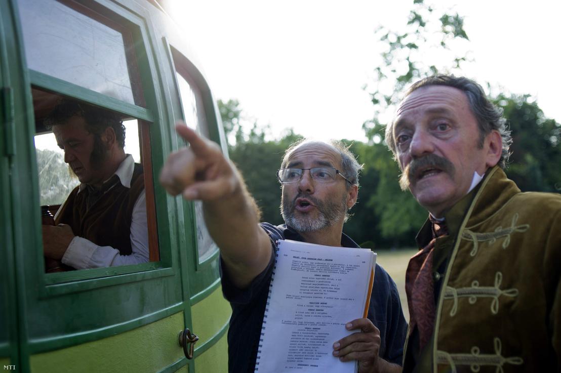 Szacsvay Lászlóval és Scherer Péterrel a Kossuthkifli forgatásán