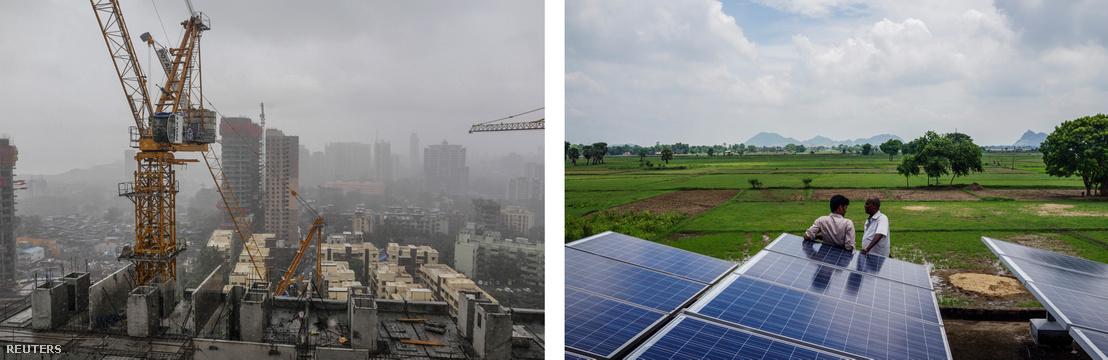 Balra: luxusapartmanok épülnek Mumbai egyik lakónegyedében, Jobbra: Kínai beruházás keretében telepített napelemek az indiai Dharnai falu szélén.