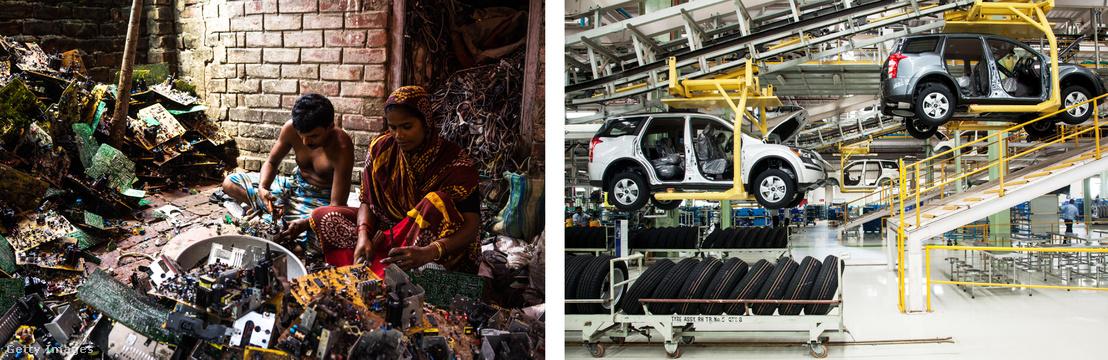 Balra: elektronikus szemetet válogató falusiak Sangrampurban. Jobbra: Automatizált gépsor az indiai Mahinda & Mahindra egyik autógyárában.